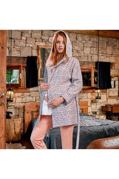 Πιτζάμα Εγκυμοσύνης και Θηλασμού Με Ρόμπα Berrak SUPER BABY