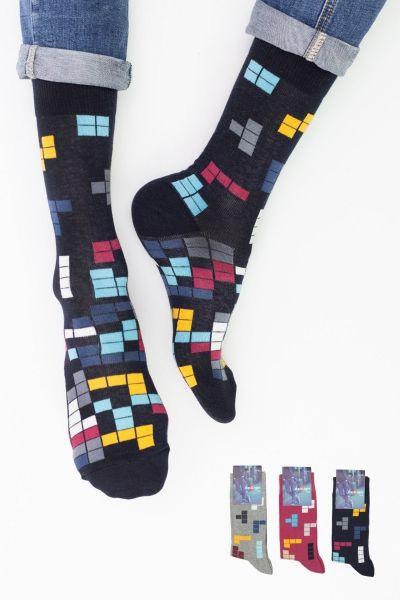 Ανδρικές Casual Κάλτσες Design TETRIS II 3 ζευγάρια