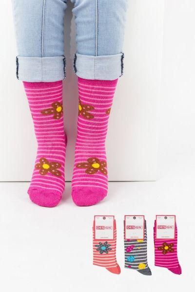Παιδικές κάλτσες για κορίτσι Design FLOWERS 3 ζευγάρια