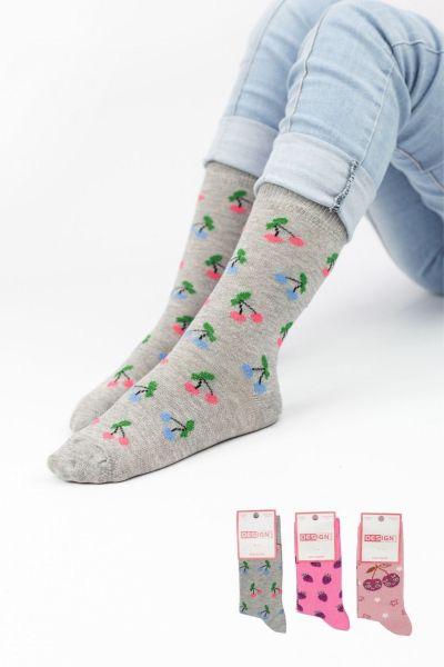 Παιδικές κάλτσες για κορίτσι Design FRUITS 3 ζευγάρια