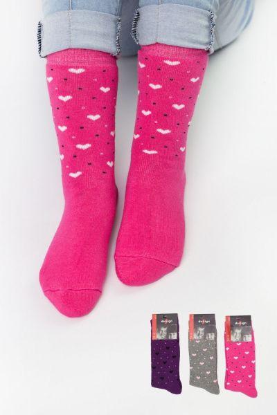 Παιδικές κάλτσες για κορίτσι πετσετέ Design HEARTS I 3 ζευγάρια