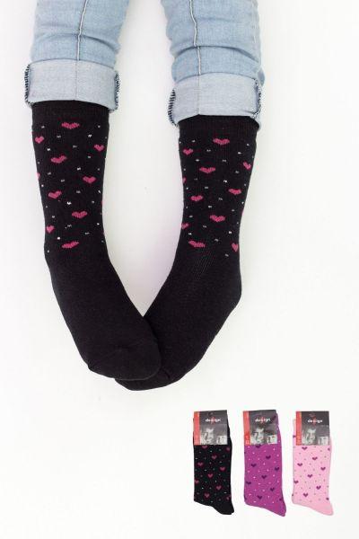 Παιδικές κάλτσες για κορίτσι πετσετέ  Design HEARTS II 3 ζευγάρια