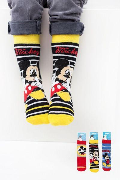 Παιδικές αντιολισθητικές κάλτσες για αγόρι  Disney HAPPY MICKEY 3 ζευγάρια