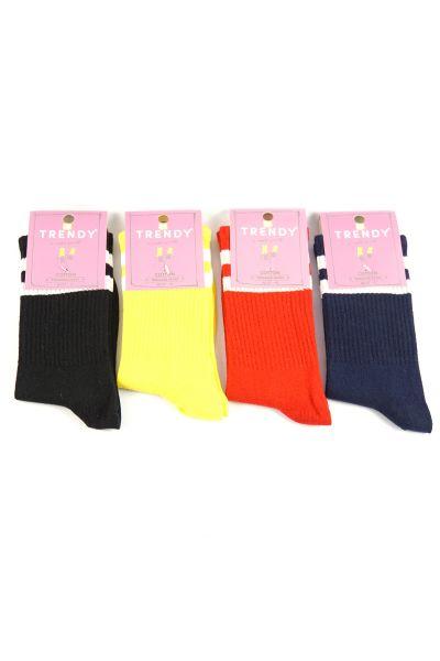 Αθλητικές κάλτσες Trendy 4 τμχ. κόκκινο/κίτρινο/μαύρο/μπλε