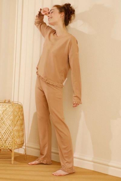 Γυναικείο homewear μακρύ παντελόνι  Sexen MUSTARD TILE