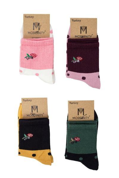 Γυναικείες ημίκοντες κάλτσες  Modernty LOVE 4 ζευγάρια