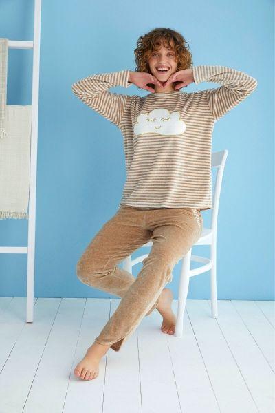 Γυναικεία βελούδινη πιτζάμα Sevim CLOUD