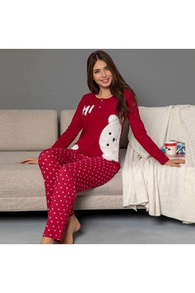 Γυναικεία Χειμωνιάτικη Πιτζάμα siyah inci RED BEAR