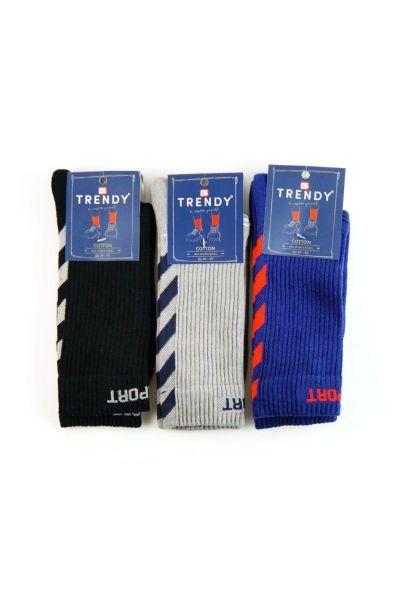Αθλητικές κάλτσες Trendy 3 ζευγάρια μαύρο γκρι μπλε